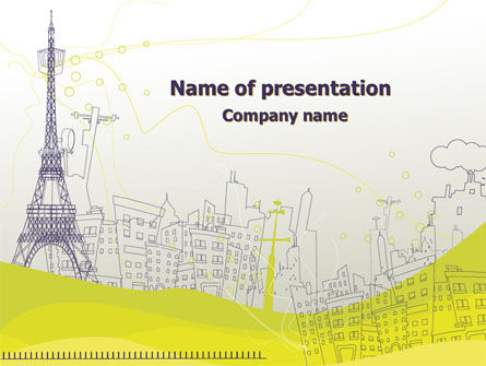 Paris Illustration PowerPoint Template, 08211, Construction — PoweredTemplate.com