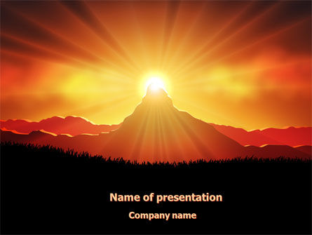 Religious/Spiritual: Sunrise in Mountains PowerPoint Template #08216