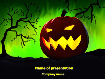 Holiday/Special Occasion: Jack-o-lantern On Scary Green Background PowerPoint Template #08224