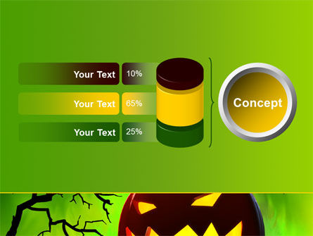 Jack-o-lantern On Scary Green Background PowerPoint Template Slide 11