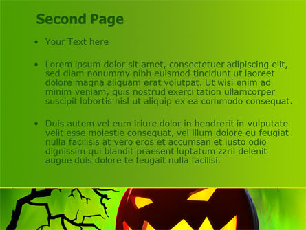 Jack-o-lantern On Scary Green Background PowerPoint Template, Slide 2, 08224, Holiday/Special Occasion — PoweredTemplate.com