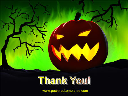 Jack-o-lantern On Scary Green Background PowerPoint Template Slide 20