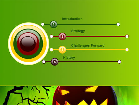 Jack-o-lantern On Scary Green Background PowerPoint Template, Slide 3, 08224, Holiday/Special Occasion — PoweredTemplate.com