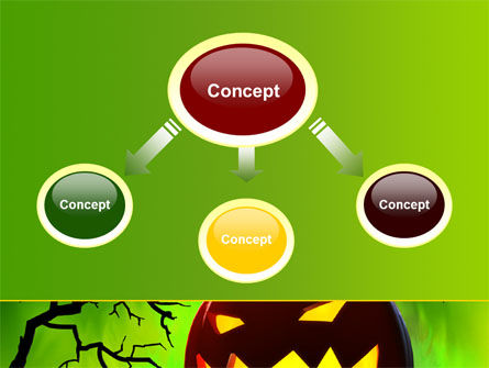 Jack-o-lantern On Scary Green Background PowerPoint Template, Slide 4, 08224, Holiday/Special Occasion — PoweredTemplate.com