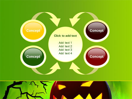 Jack-o-lantern On Scary Green Background PowerPoint Template Slide 6