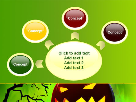 Jack-o-lantern On Scary Green Background PowerPoint Template Slide 7