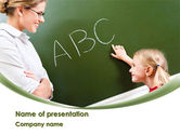 Education & Training: Writing the Alphabet PowerPoint Template #08225