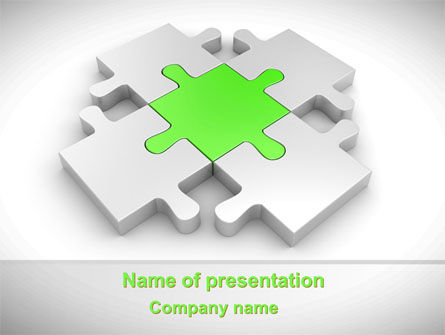 Business Concepts: Green Center Jigsaw PowerPoint Template #08233