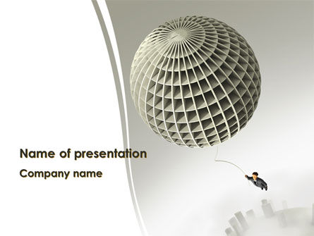 Business Concepts: Businessman Flying Away PowerPoint Template #08242