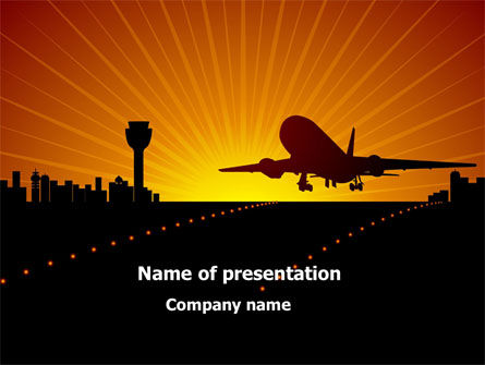 Cars and Transportation: Airplane Landing PowerPoint Template #08251