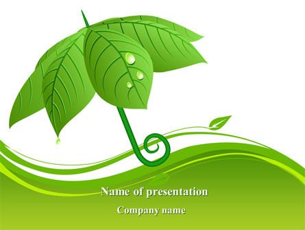 Nature & Environment: Leaf Umbrella PowerPoint Template #08263