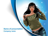 Careers/Industry: Stylish Girl PowerPoint Template #08265