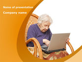 Technology and Science: Elders and Computers PowerPoint Template #08277