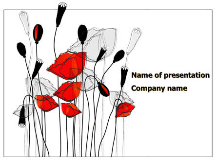 Art & Entertainment: Stylized Poppies PowerPoint Template #08283