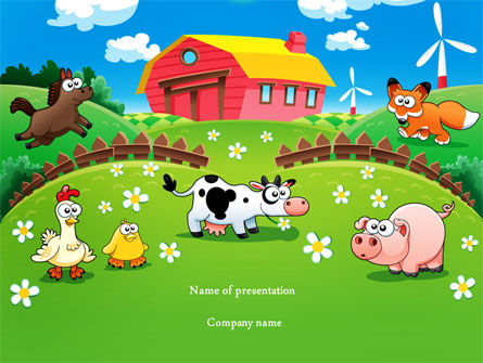 Funny Farm PowerPoint Template Backgrounds