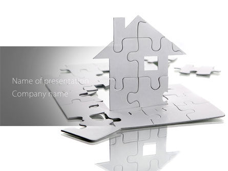 Real Estate: Gray Puzzle House PowerPoint Template #08291
