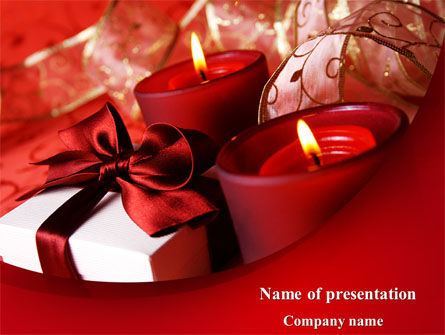 Red Christmas Candles PowerPoint Template