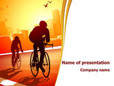 Sports: Bicycle Racing In Sunset PowerPoint Template #08301