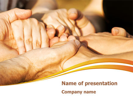 Religious/Spiritual: Hands Contact PowerPoint Template #08305