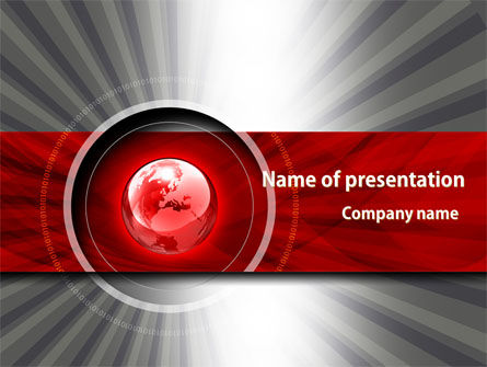 Global: Red globe thema PowerPoint Vorlage #08312