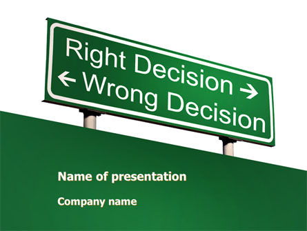 Right Decision Sign PowerPoint Template, 08313, Consulting — PoweredTemplate.com