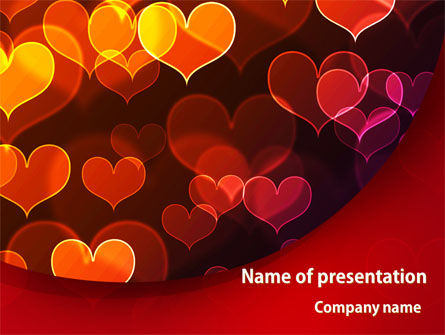 Holiday/Special Occasion: Heart Shaped Lights PowerPoint Template #08324