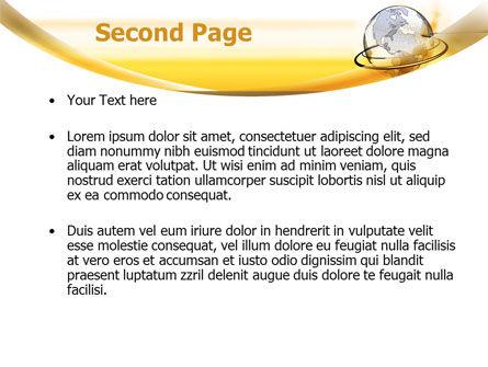 Yellow Globe PowerPoint Template, Slide 2, 08345, Global — PoweredTemplate.com