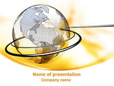 Yellow Globe PowerPoint Template#1