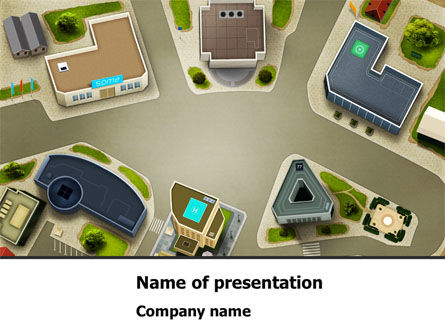 Building Satellite View PowerPoint Template, 08346, Construction — PoweredTemplate.com