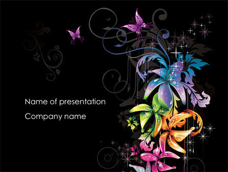 Abstract/Textures: Fancy Ontwerp Bloemen PowerPoint Template #08349