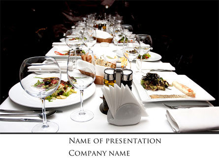 Banquet Table PowerPoint Template, 08354, Food & Beverage — PoweredTemplate.com