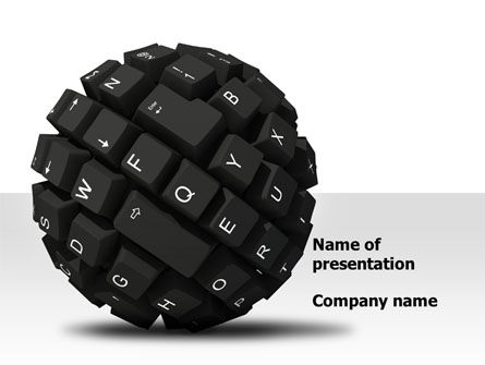 Technology and Science: Keyboard Ball PowerPoint Template #08366