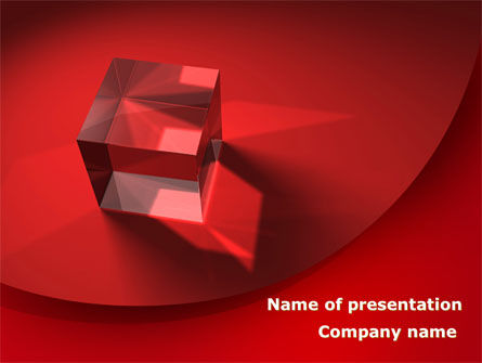 Business: Red Crystal Cube PowerPoint Template #08372