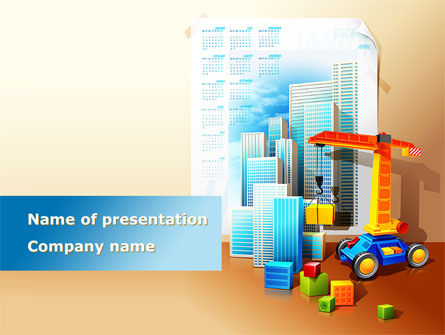 Building Calendar Free PowerPoint Template, 08380, Construction — PoweredTemplate.com
