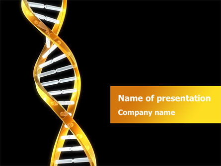 Medical: Gold DNA String PowerPoint Template #08385