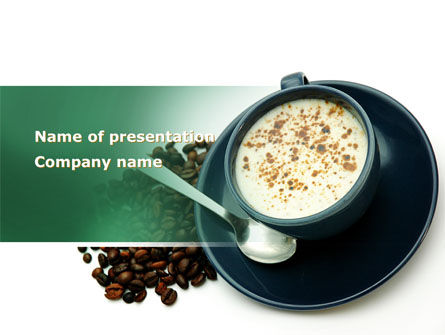 Coffee Cup With Coffee Beans Around PowerPoint Template, 08402, Food & Beverage — PoweredTemplate.com