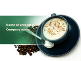 Food & Beverage: Coffee Cup With Coffee Beans Around PowerPoint Template #08402