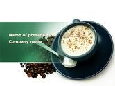 Food & Beverage: Templat PowerPoint Cangkir Kopi Dengan Biji Kopi Di Sekitar #08402