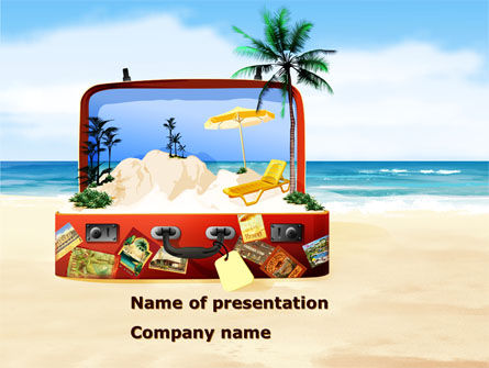 Vacation Suitcase PowerPoint Template, 08412, Careers/Industry — PoweredTemplate.com
