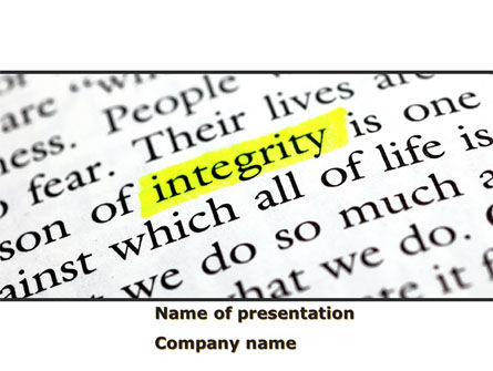 Business Concepts: Integrity Business PowerPoint Template #08436