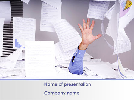Consulting: Drowning in Paper PowerPoint Template #08437