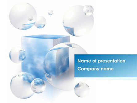 Blue Cube PowerPoint Template, 08439, Abstract/Textures — PoweredTemplate.com