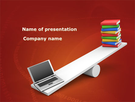 Computer or Books PowerPoint Template, 08441, Education & Training — PoweredTemplate.com