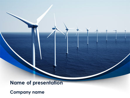 North Sea Windmills PowerPoint Template, 08445, Nature & Environment — PoweredTemplate.com