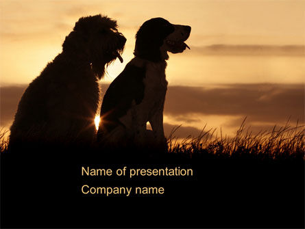 Dog Couple PowerPoint Template, 08454, Animals and Pets — PoweredTemplate.com