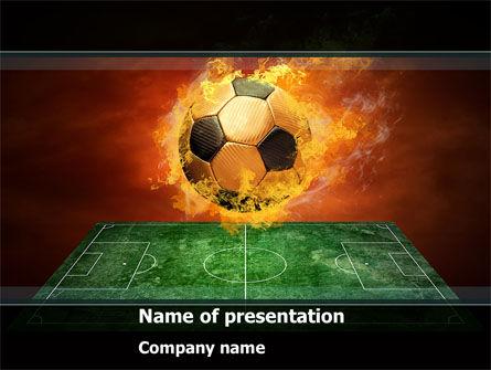 Flaming Football PowerPoint Template, 08458, Sports — PoweredTemplate.com