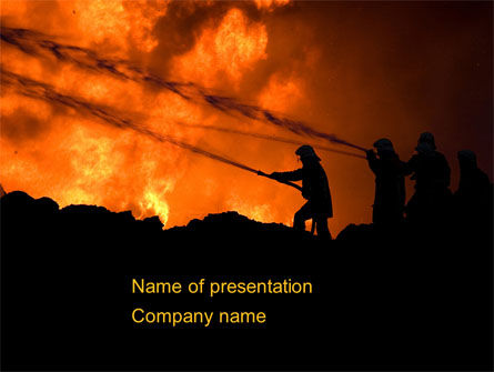 Fire Fighting On Massive Fire PowerPoint Template, 08472, Nature & Environment — PoweredTemplate.com