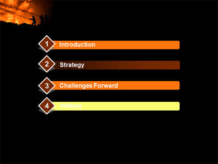 Fire Fighting On Massive Fire PowerPoint Template, Slide 3, 08472, Nature & Environment — PoweredTemplate.com