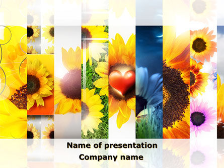 Holiday/Special Occasion: Open Flowers Bright Collage PowerPoint Template #08533