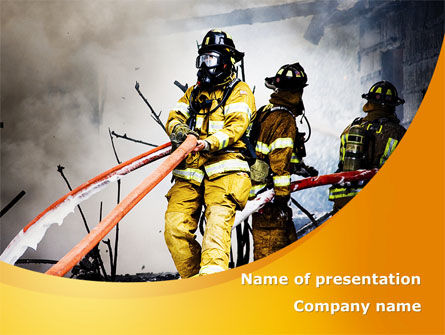 Firefighters with Firehose PowerPoint Template, 08541, Nature & Environment — PoweredTemplate.com